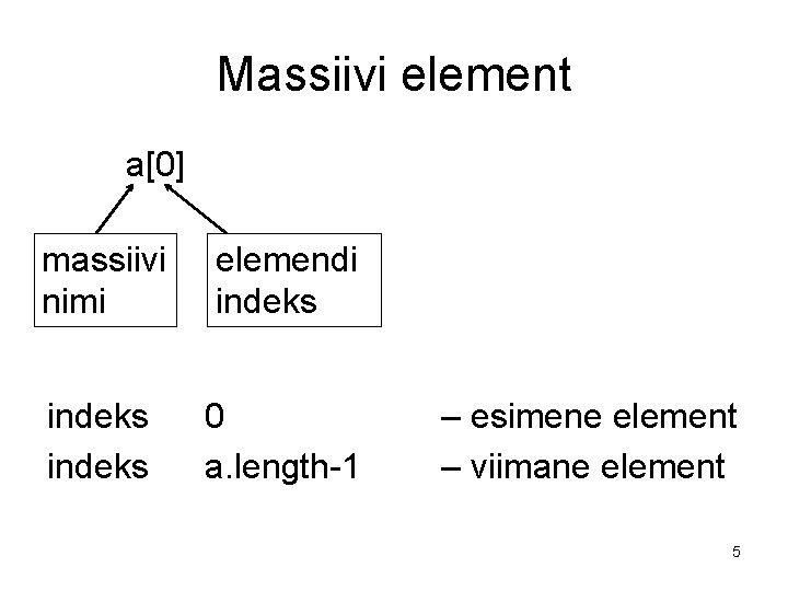 Massiivi element a[0] massiivi nimi elemendi indeks 0 a. length-1 – esimene element –