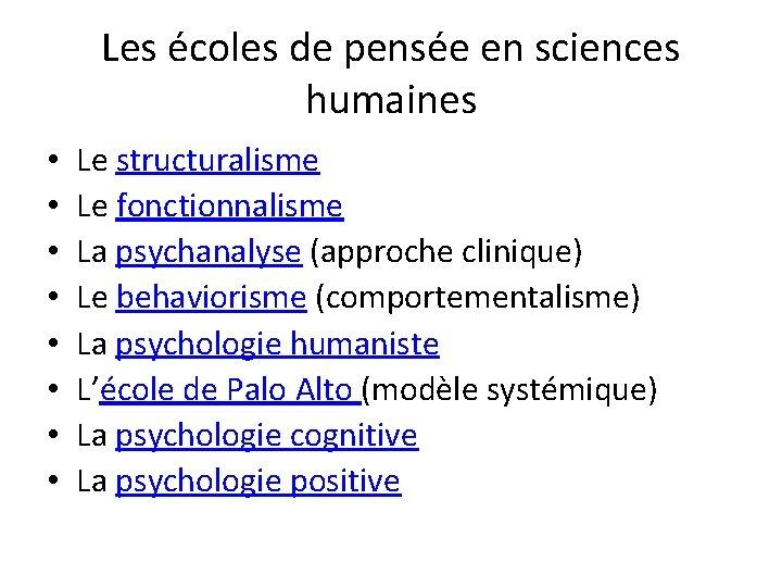 Les écoles de pensée en sciences humaines • • Le structuralisme Le fonctionnalisme La