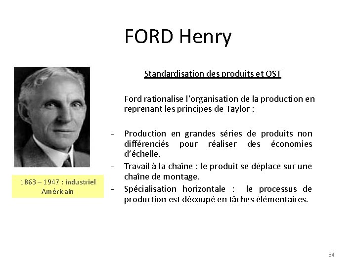 FORD Henry Standardisation des produits et OST Ford rationalise l'organisation de la production en