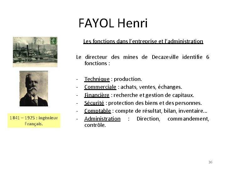 FAYOL Henri Les fonctions dans l'entreprise et l'administration Le directeur des mines de Decazeville