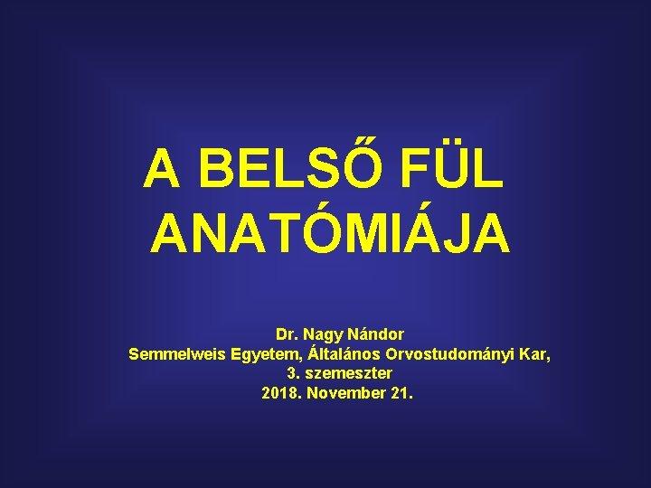 A BELSŐ FÜL ANATÓMIÁJA Dr. Nagy Nándor Semmelweis Egyetem, Általános Orvostudományi Kar, 3. szemeszter