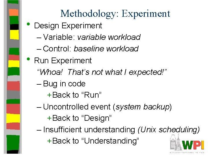 Methodology: Experiment • Design Experiment • – Variable: variable workload – Control: baseline workload