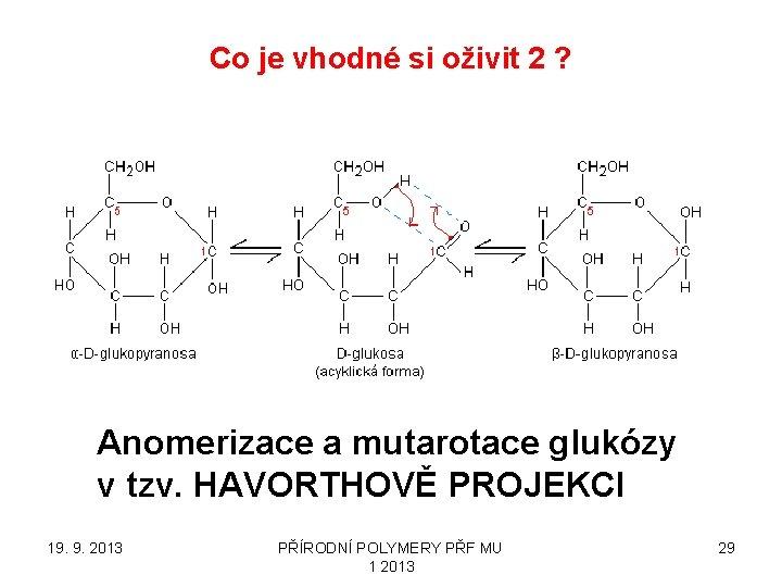 Co je vhodné si oživit 2 ? Anomerizace a mutarotace glukózy v tzv. HAVORTHOVĚ