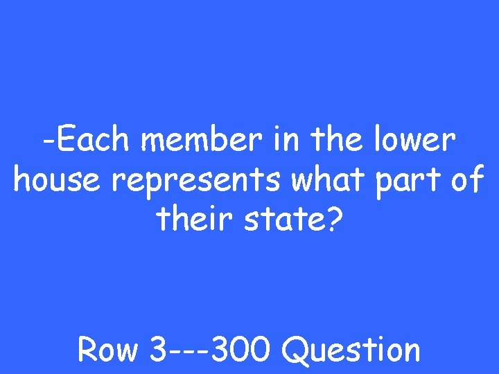 -Each member in the lower house represents what part of their state? Row 3