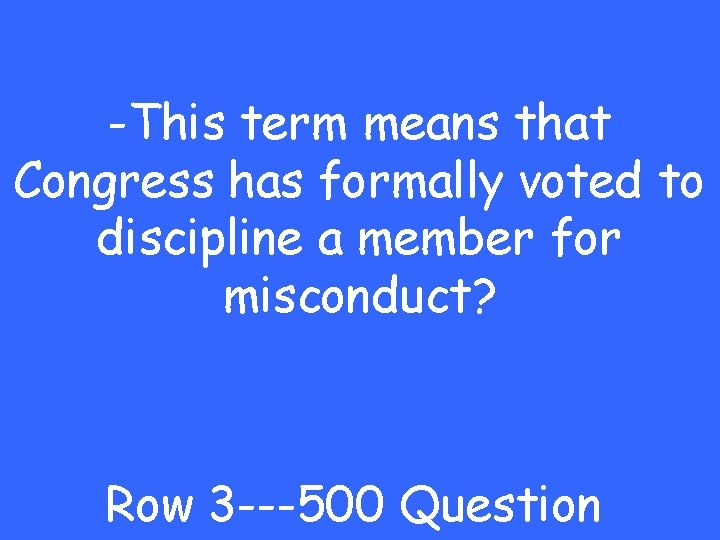 -This term means that Congress has formally voted to discipline a member for misconduct?
