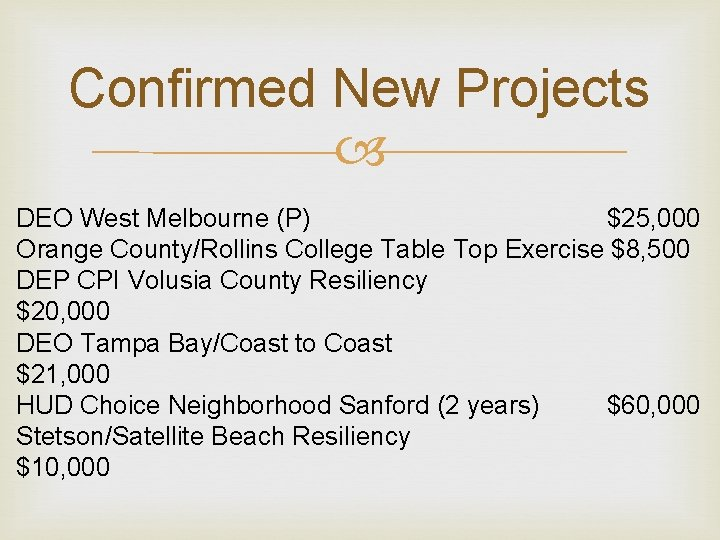 Confirmed New Projects DEO West Melbourne (P) $25, 000 Orange County/Rollins College Table Top