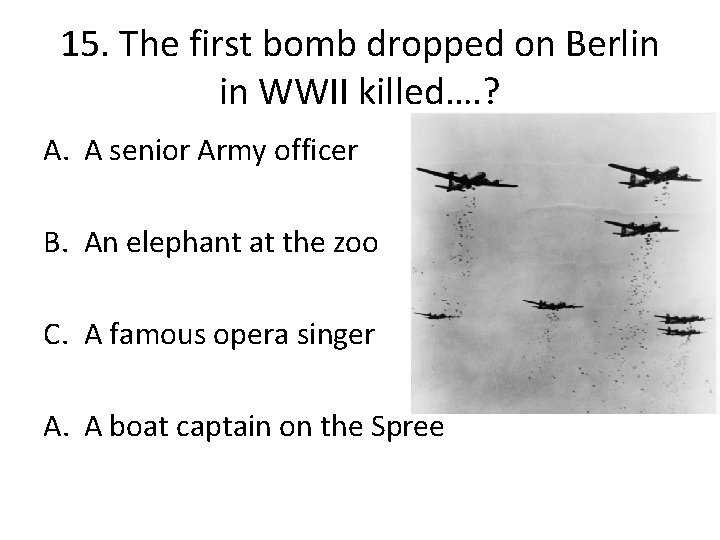 15. The first bomb dropped on Berlin in WWII killed…. ? A. A senior