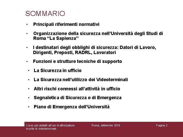 SOMMARIO • Principali riferimenti normativi • Organizzazione della sicurezza nell'Università degli Studi di Roma