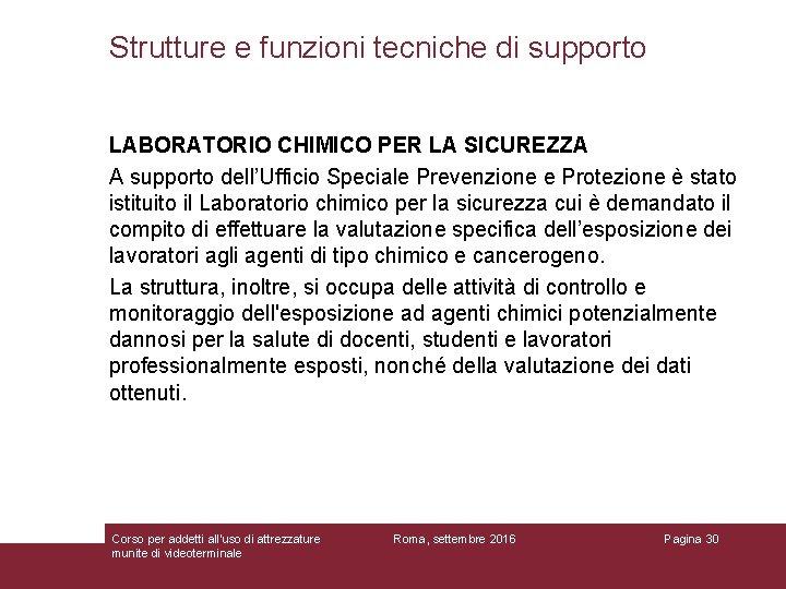 Strutture e funzioni tecniche di supporto LABORATORIO CHIMICO PER LA SICUREZZA A supporto dell'Ufficio