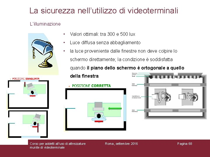 La sicurezza nell'utilizzo di videoterminali L'illuminazione • Valori ottimali: tra 300 e 500 lux