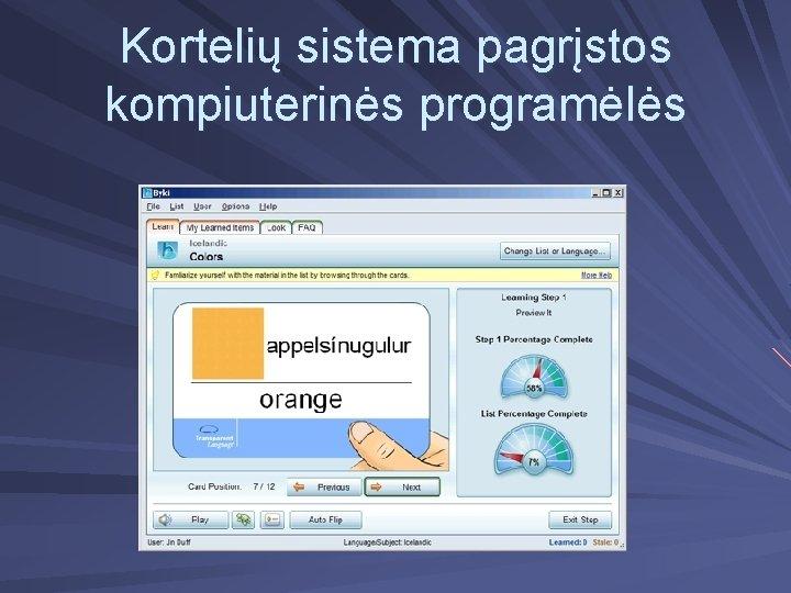 Kortelių sistema pagrįstos kompiuterinės programėlės