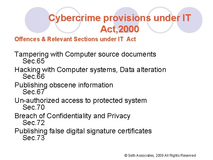 Cybercrime provisions under IT Act, 2000 Offences & Relevant Sections under IT Act Tampering