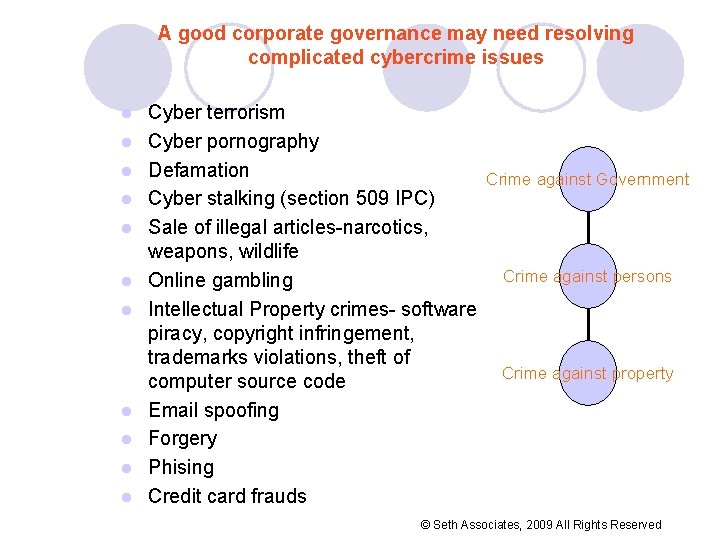 A good corporate governance may need resolving complicated cybercrime issues l l l Cyber