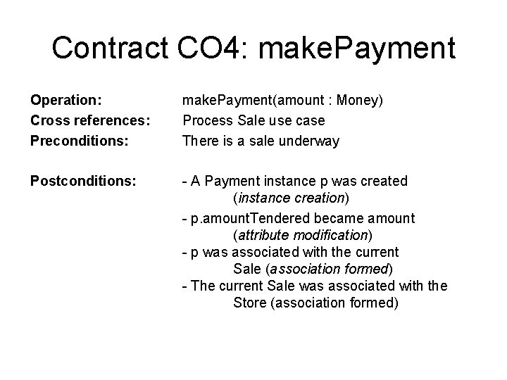Contract CO 4: make. Payment Operation: Cross references: Preconditions: make. Payment(amount : Money) Process