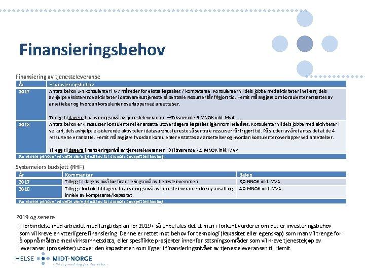 Finansieringsbehov Finansiering av tjenesteleveranse År 2017 Finansieringsbehov Antatt behov 3 -4 konsulenter i 6