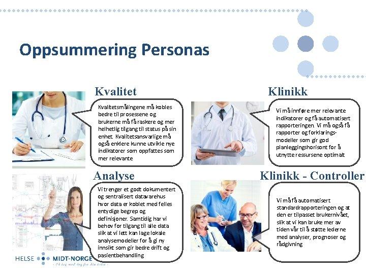Oppsummering Personas Kvalitetsmålingene må kobles bedre til prosessene og brukerne må få raskere og