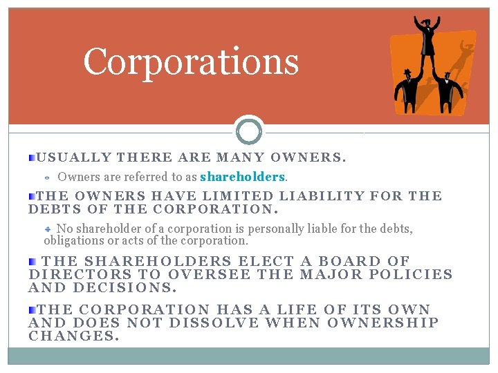 Corporations USUALLY THERE ARE MANY OWNERS. Owners are referred to as shareholders THE OWNERS