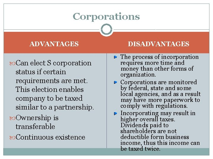 Corporations ADVANTAGES Can elect S corporation status if certain requirements are met. This election