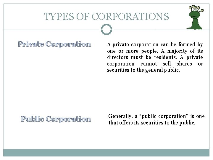 TYPES OF CORPORATIONS Private Corporation Public Corporation A private corporation can be formed by