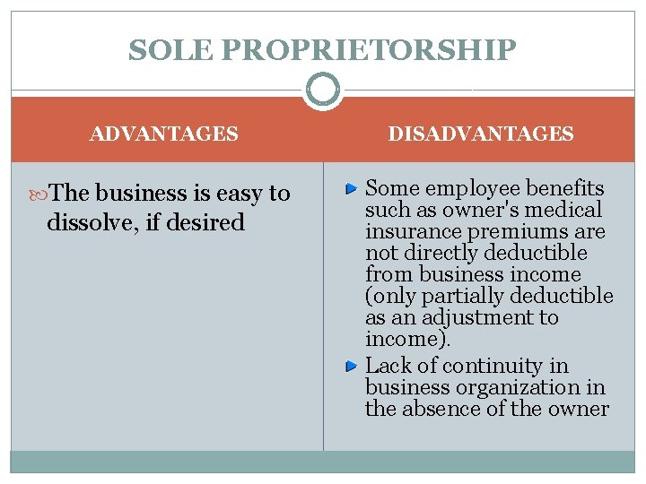 SOLE PROPRIETORSHIP ADVANTAGES The business is easy to dissolve, if desired DISADVANTAGES Some employee