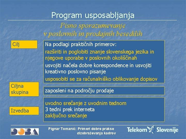 Program usposabljanja Pisno sporazumevanje v poslovnih in prodajnih besedilih Cilj Na podlagi praktičnih primerov: