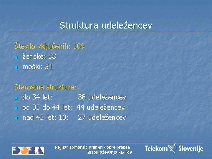 Struktura udeležencev Število vključenih: 109 n ženske: 58 n moški: 51 Starostna struktura: n