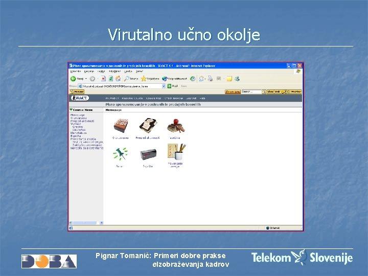 Virutalno učno okolje Pignar Tomanič: Primeri dobre prakse e. Izobraževanja kadrov
