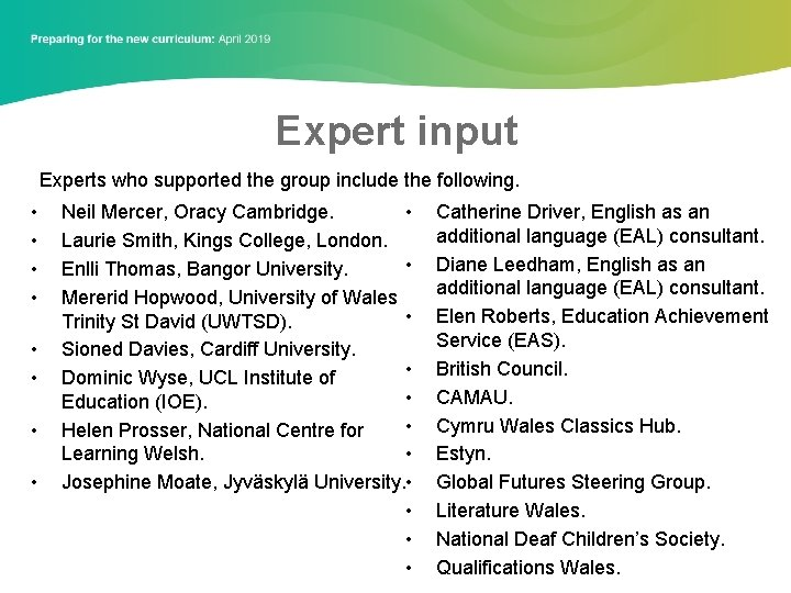 Expert input Experts who supported the group include the following. • • Neil Mercer,