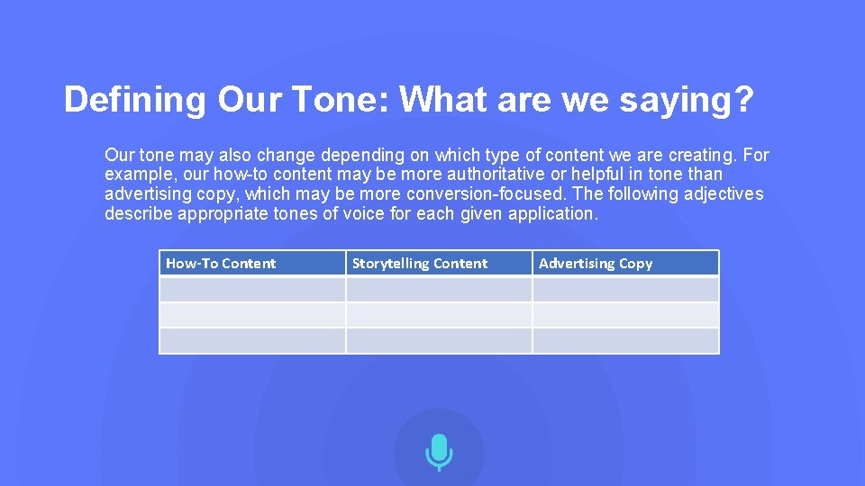 Defining Our Tone: What are we saying? Our tone may also change depending on