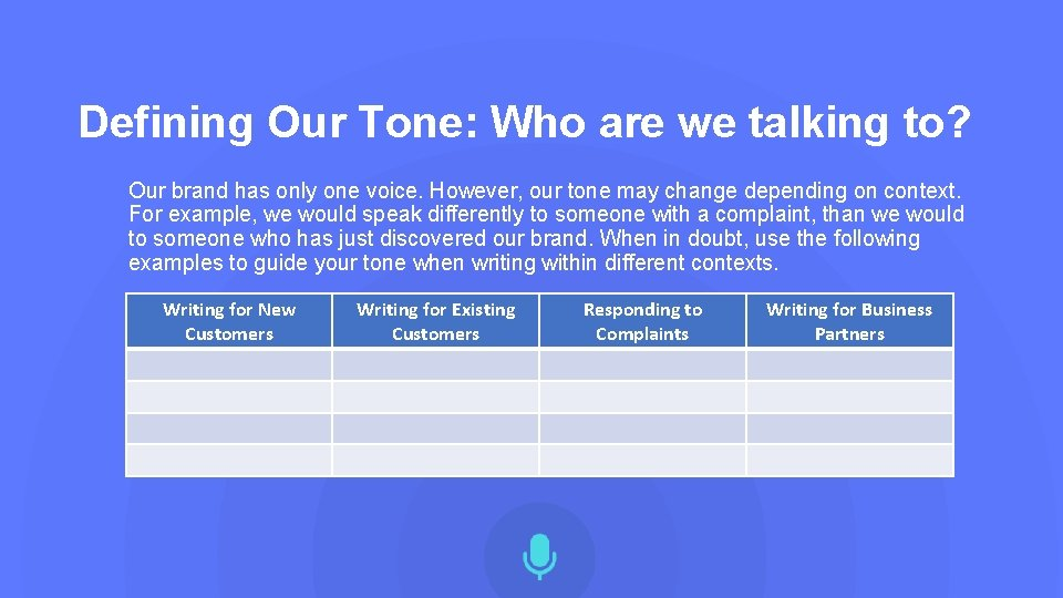 Defining Our Tone: Who are we talking to? Our brand has only one voice.