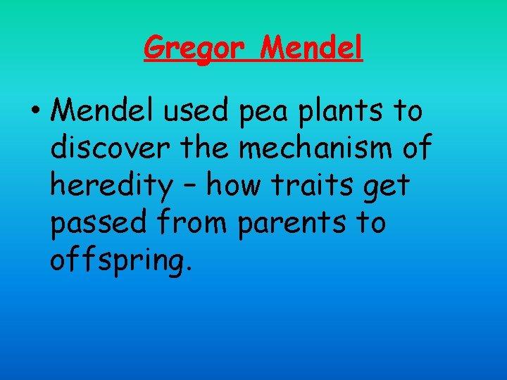 Gregor Mendel • Mendel used pea plants to discover the mechanism of heredity –