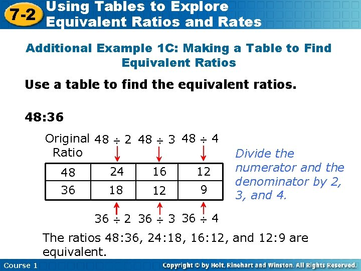 Using Tables to Explore 7 -2 Equivalent Ratios and Rates Additional Example 1 C: