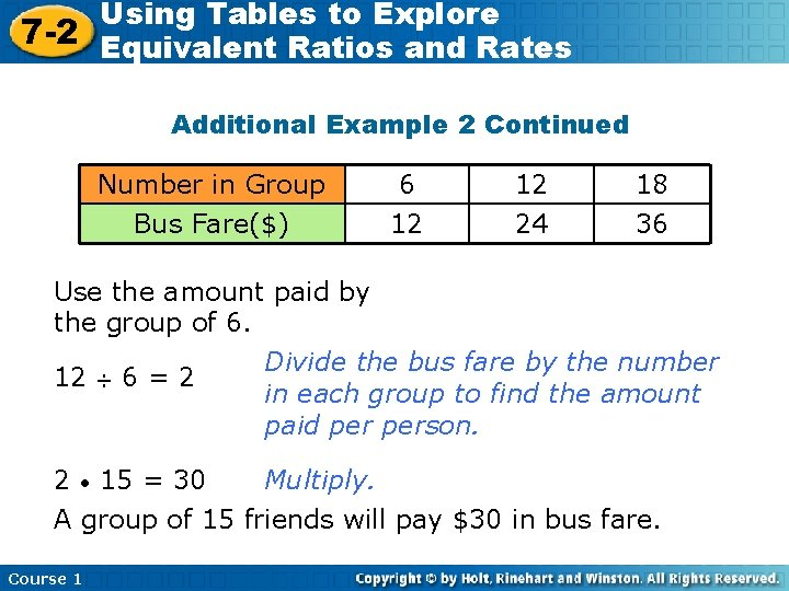 Using Tables to Explore 7 -2 Equivalent Ratios and Rates Additional Example 2 Continued