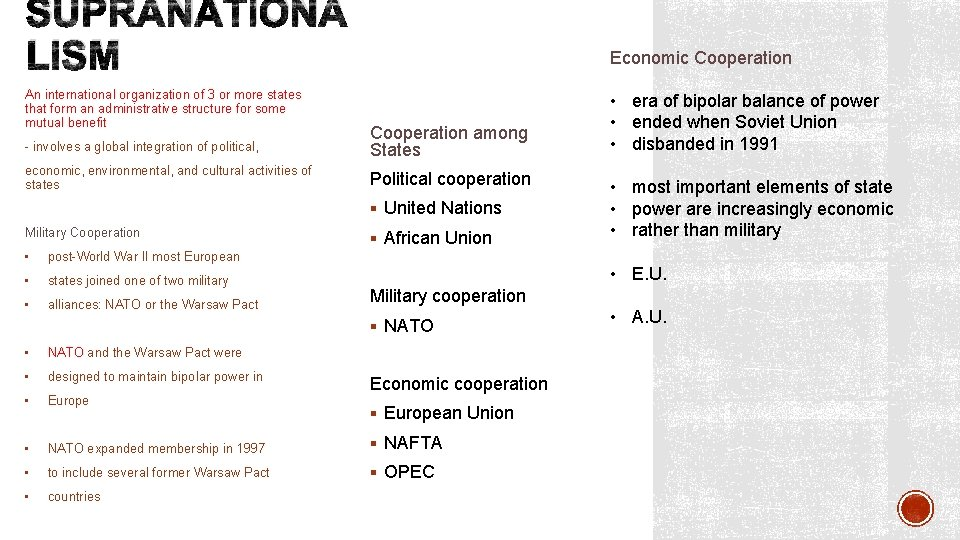SUPRANATIONA LISM An international organization of 3 or more states that form an administrative