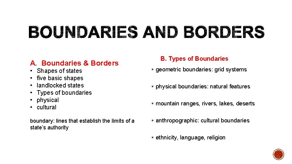 BOUNDARIES AND BORDERS A. Boundaries & Borders • • • Shapes of states five