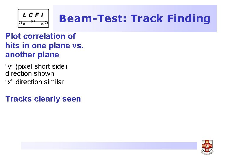 """Beam-Test: Track Finding Plot correlation of hits in one plane vs. another plane """"y"""""""