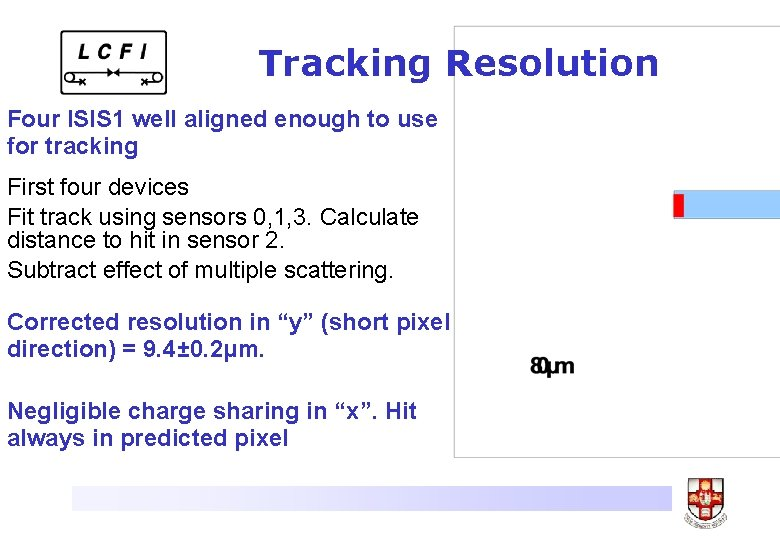 Tracking Resolution Four ISIS 1 well aligned enough to use for tracking First four