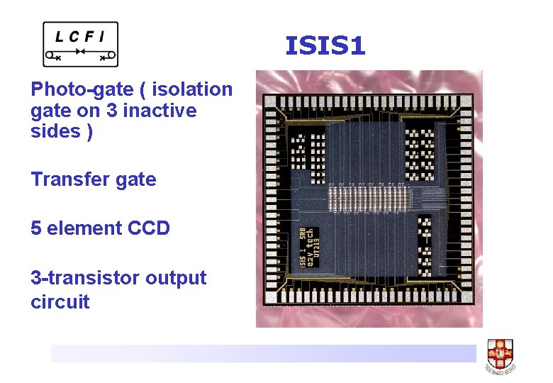 ISIS 1 Photo-gate ( isolation gate on 3 inactive sides ) Transfer gate 5
