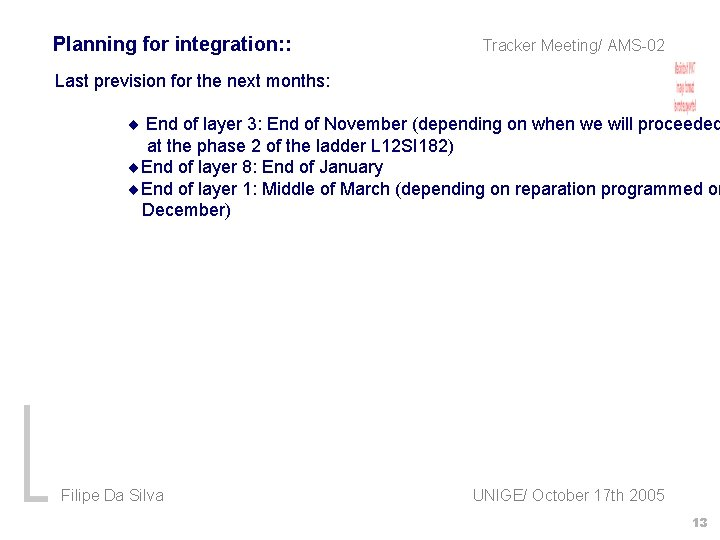 Planning for integration: : Tracker Meeting/ AMS-02 Last prevision for the next months: End