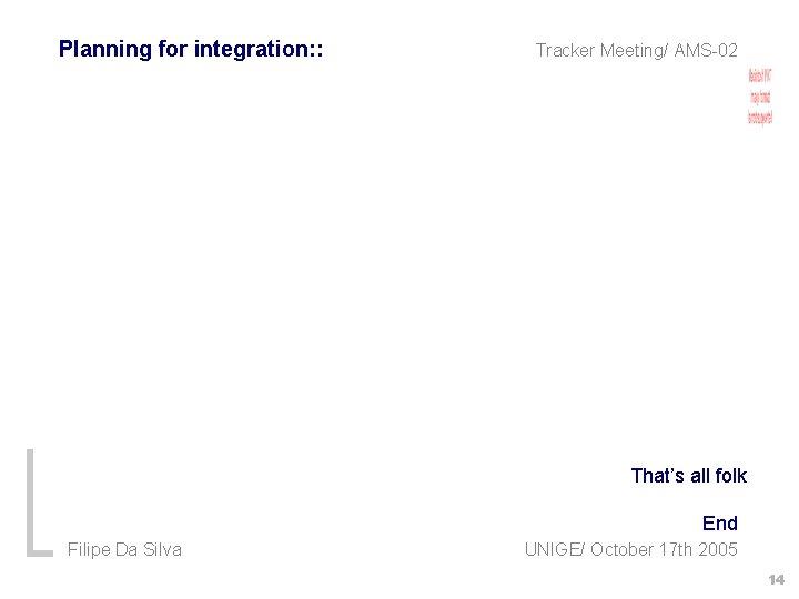 Planning for integration: : Tracker Meeting/ AMS-02 That's all folk End Filipe Da Silva