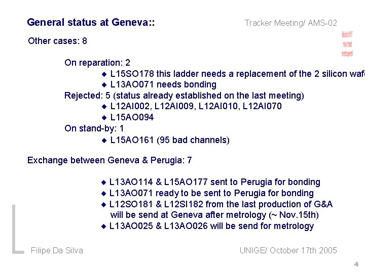 General status at Geneva: : Tracker Meeting/ AMS-02 Other cases: 8 On reparation: 2