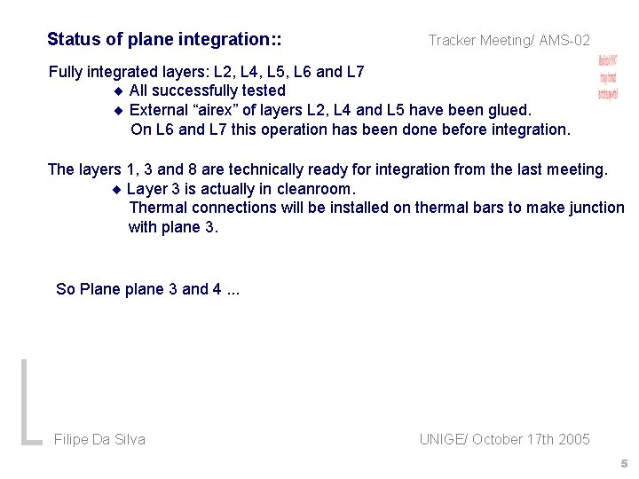 Status of plane integration: : Tracker Meeting/ AMS-02 Fully integrated layers: L 2, L