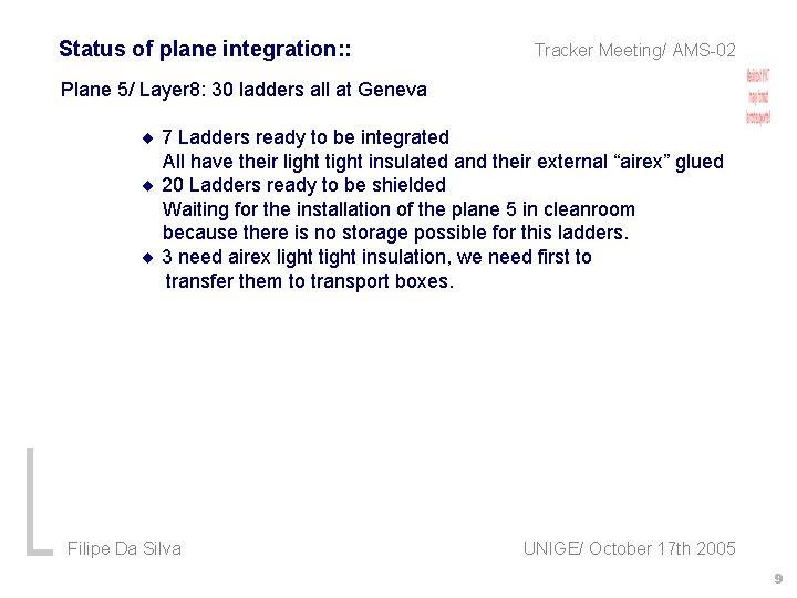 Status of plane integration: : Tracker Meeting/ AMS-02 Plane 5/ Layer 8: 30 ladders