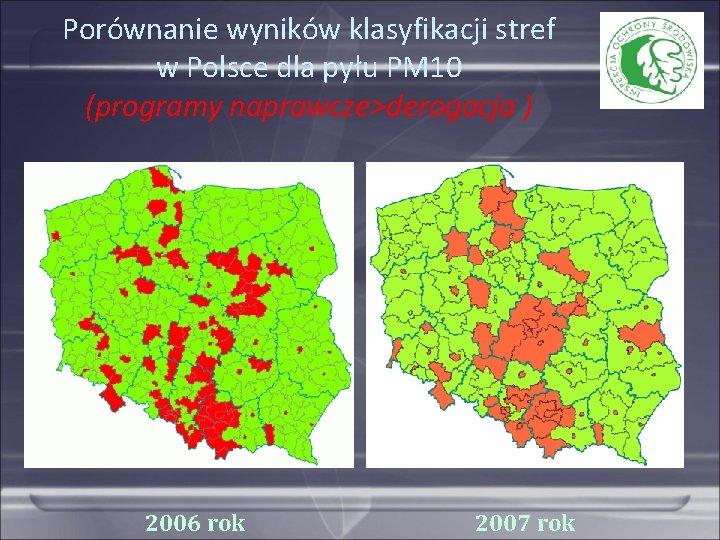 Porównanie wyników klasyfikacji stref w Polsce dla pyłu PM 10 (programy naprawcze>derogacja ) 2006