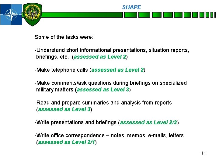 SHAPE Personnel Some of the tasks were: -Understand short informational presentations, situation reports, briefings,