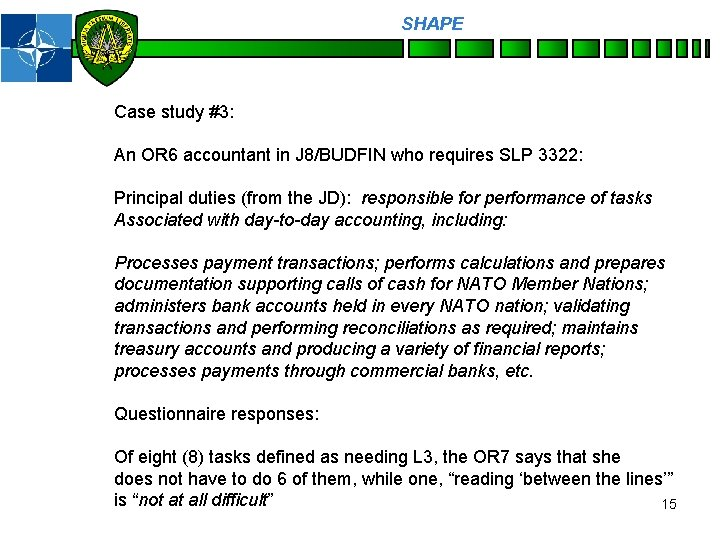 SHAPE Personnel Case study #3: An OR 6 accountant in J 8/BUDFIN who requires