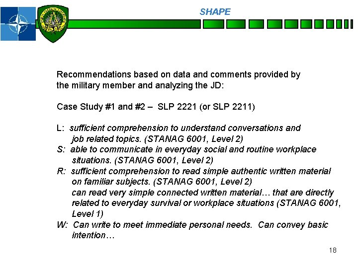 SHAPE Personnel Recommendations based on data and comments provided by the military member and