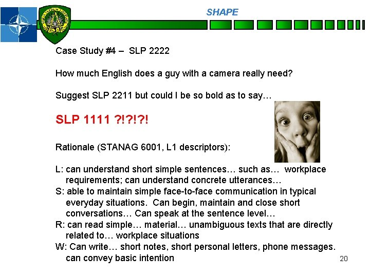SHAPE Personnel Case Study #4 – SLP 2222 How much English does a guy