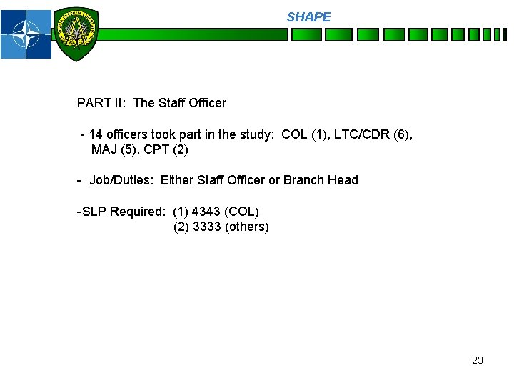 SHAPE Personnel PART II: The Staff Officer - 14 officers took part in the