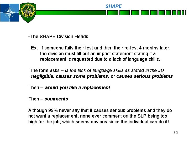 SHAPE Personnel -The SHAPE Division Heads! Ex: If someone fails their test and then
